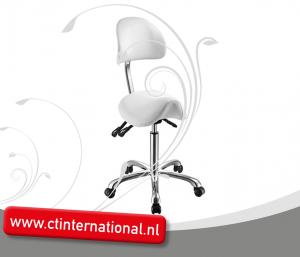 Werkstoel/tabouret ponyzit met ergonomisch gevormd rugleuning ZWART/WIT
