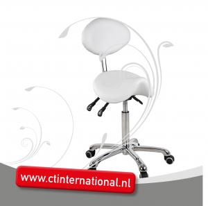Werkstoel ponyzit met rugleuning en chroom onderstel