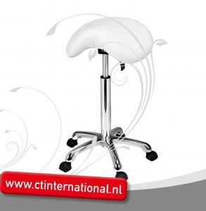 Werkstoel/werkkruk Zadelzit met chroom onderstel