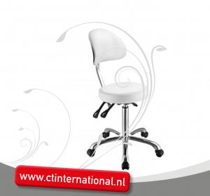 Werkstoel ronde zitting en rugleuning en chroom onderstel