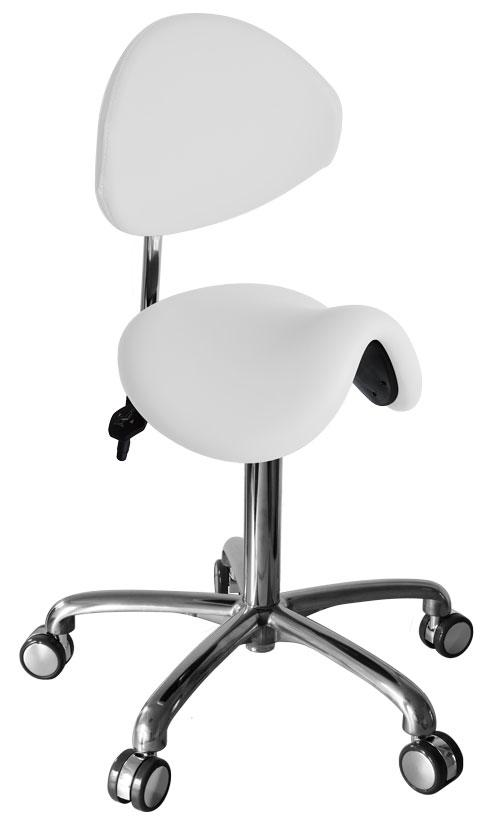Werkstoel/Tabouret Ovaal (ponyzit met rugleuning)