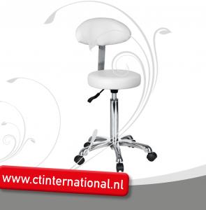Werkstoel ronde zitting Budget model met rugleuning WIT/ZWART